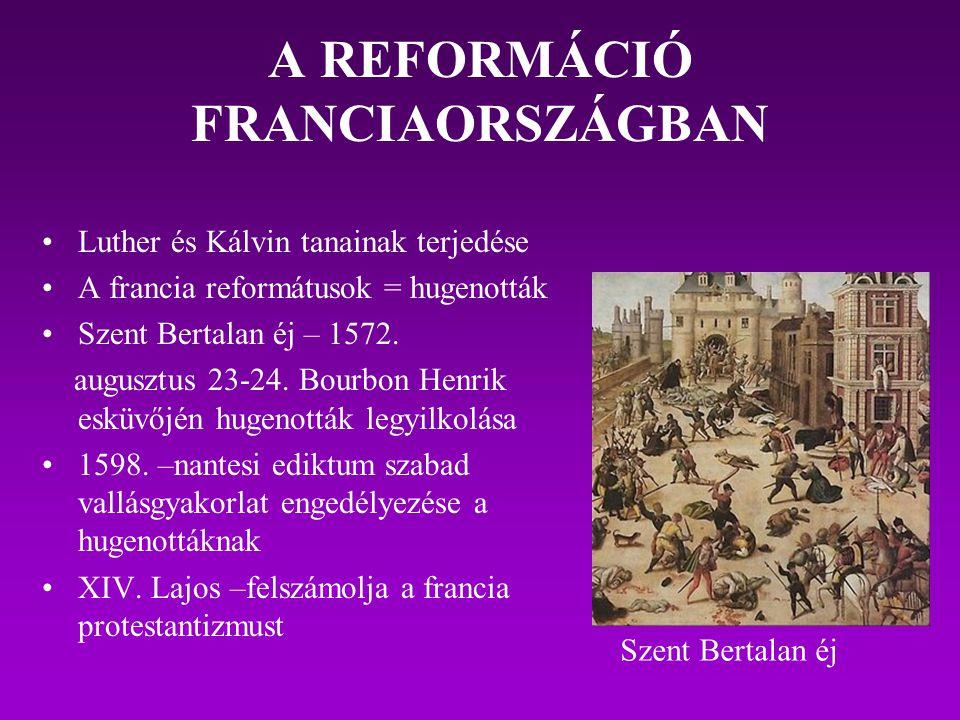 A REFORMÁCIÓ FRANCIAORSZÁGBAN Luther és Kálvin tanainak terjedése A francia reformátusok = hugenották Szent Bertalan éj – 1572. augusztus 23-24. Bourb