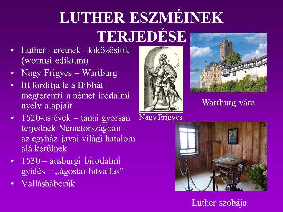 EREDMÉNYEK Azokban a német államokban, ahol a lutheri eszmék elterjedtek, az egyházi hierarchiát felszámolták Az egyház javait kisajátították A német államok egy részében a fejedelmek elutasították a reformátorok követeléseit Németalföldön, Svájcban, Bécsben stb.