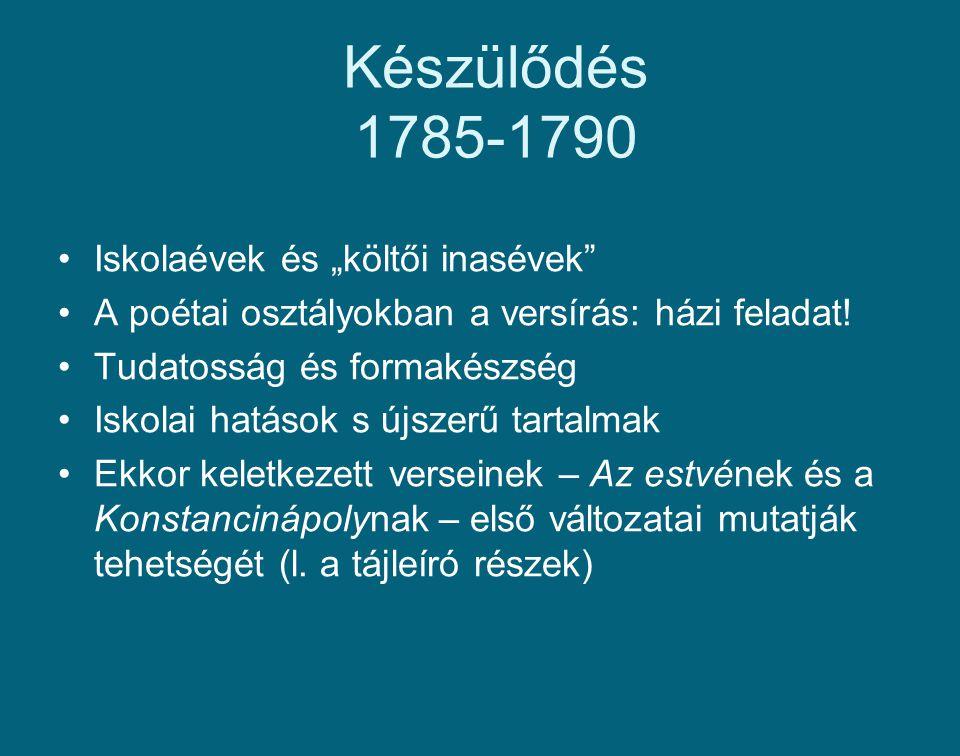 """Készülődés 1785-1790 Iskolaévek és """"költői inasévek"""" A poétai osztályokban a versírás: házi feladat! Tudatosság és formakészség Iskolai hatások s újsz"""