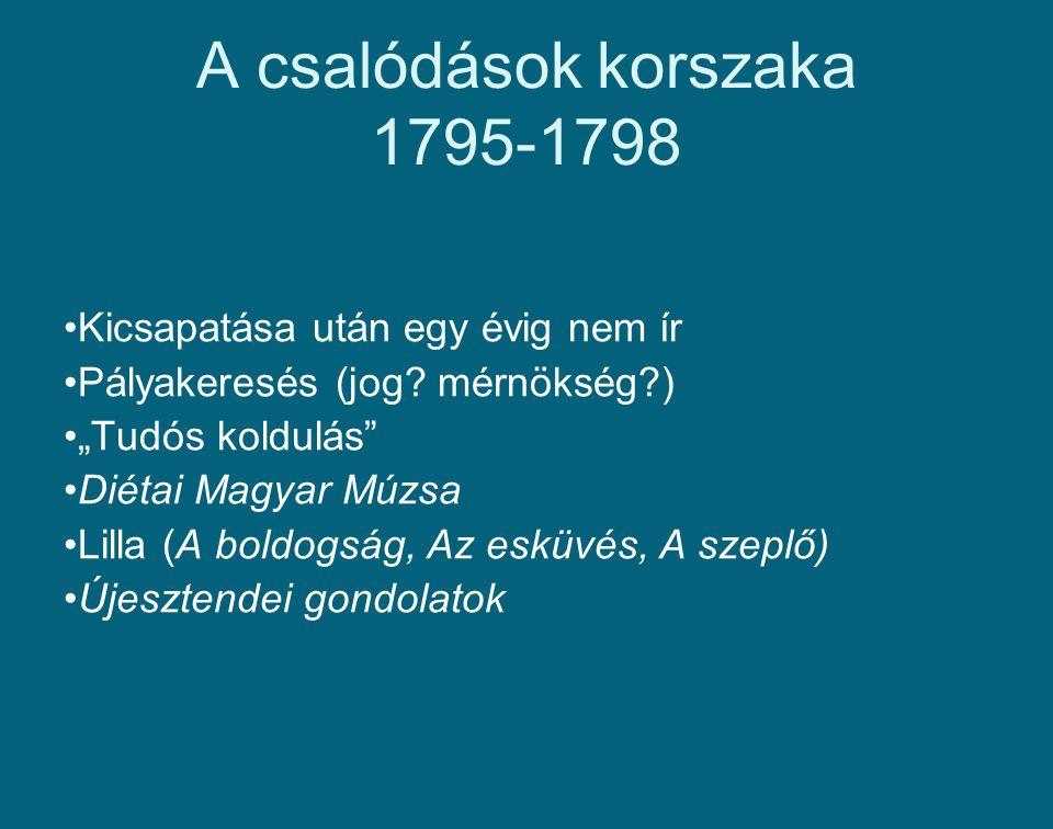 """A csalódások korszaka 1795-1798 Kicsapatása után egy évig nem ír Pályakeresés (jog? mérnökség?) """"Tudós koldulás"""" Diétai Magyar Múzsa Lilla (A boldogsá"""