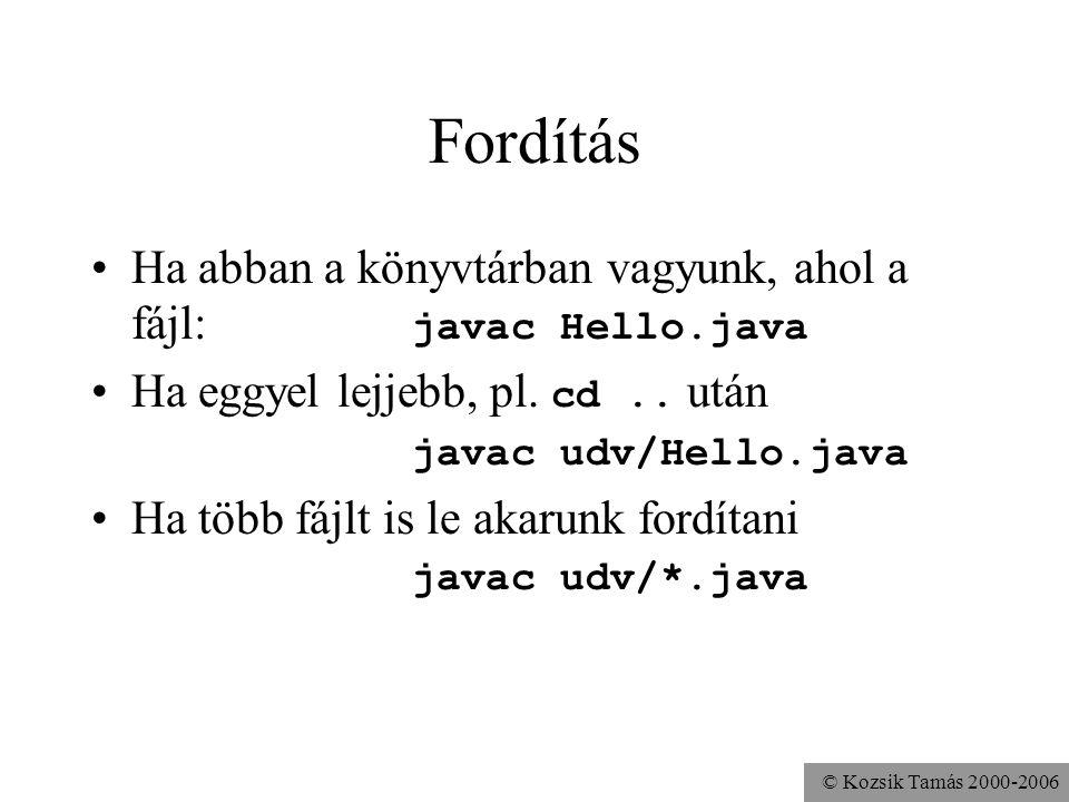 © Kozsik Tamás 2000-2006 Fordítás (több fájl) Írjuk össze a lefordítandó forrásfájlok nevét egy fájlba, pl.