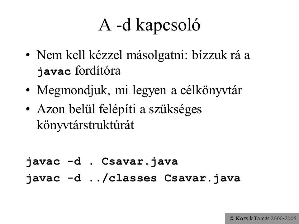© Kozsik Tamás 2000-2006 A források elhelyezése Javaslat: ugyanolyan struktúrában, mint a.class fájloknál, azaz követve a csomaghierarchiát.