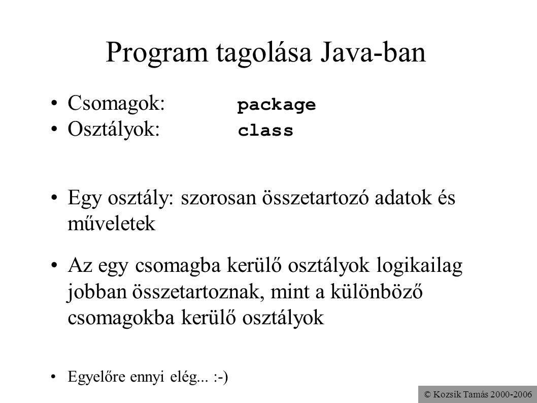 © Kozsik Tamás 2000-2006 Program tagolása Java-ban Csomagok: package Osztályok: class Egy osztály: szorosan összetartozó adatok és műveletek Az egy cs