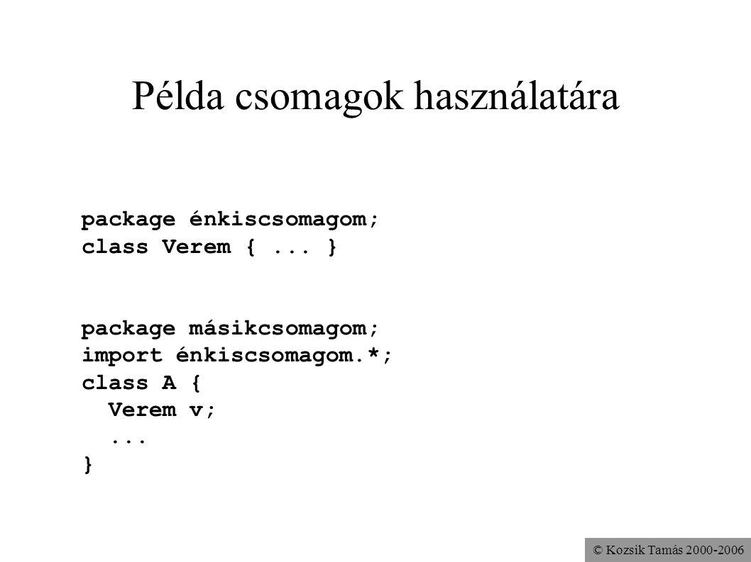 © Kozsik Tamás 2000-2006 Példa csomagok használatára package énkiscsomagom; class Verem {... } package másikcsomagom; import énkiscsomagom.*; class A
