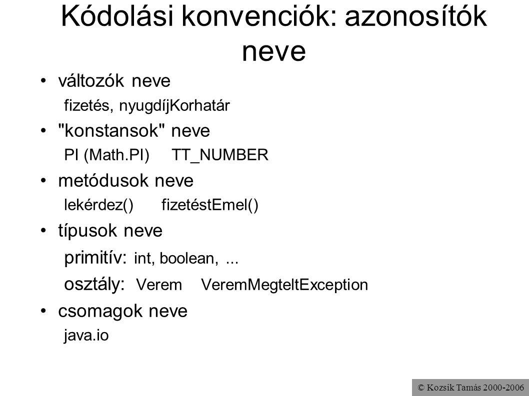 © Kozsik Tamás 2000-2006 Kódolási konvenciók: azonosítók neve változók neve fizetés, nyugdíjKorhatár