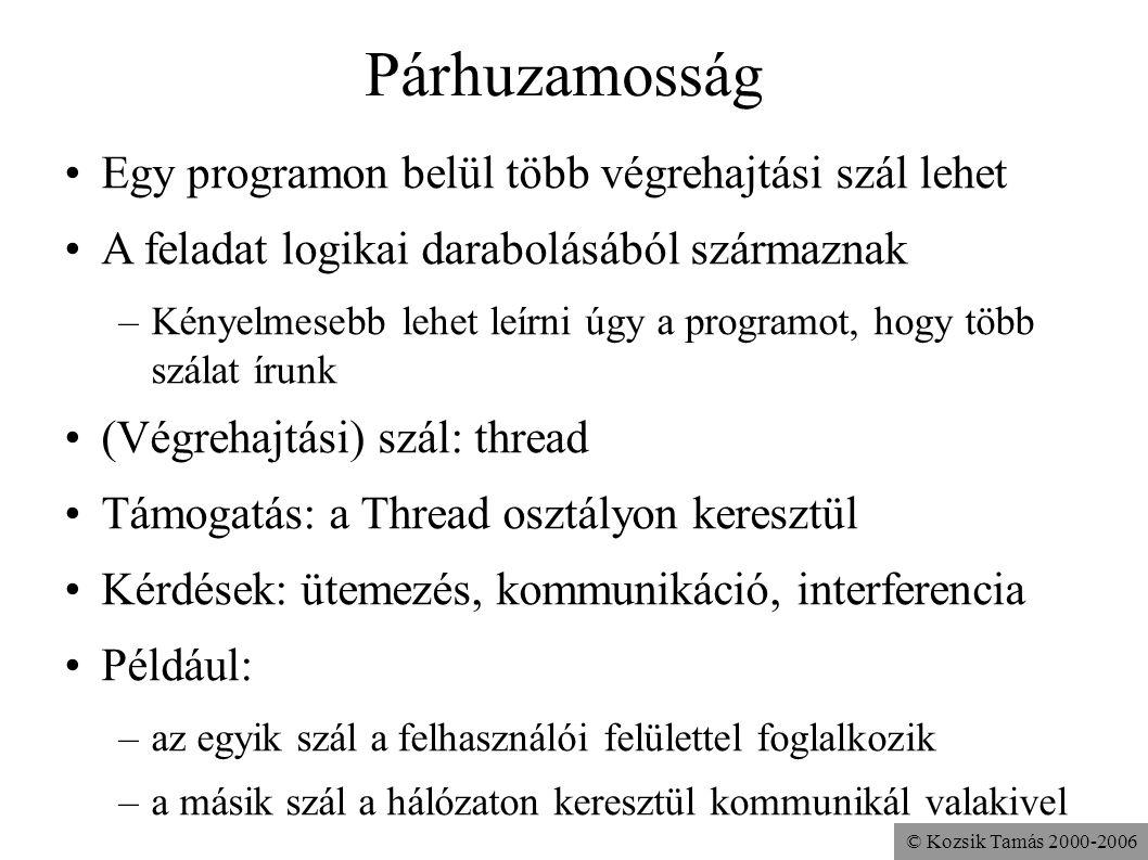 © Kozsik Tamás 2000-2006 Párhuzamosság Egy programon belül több végrehajtási szál lehet A feladat logikai darabolásából származnak –Kényelmesebb lehet