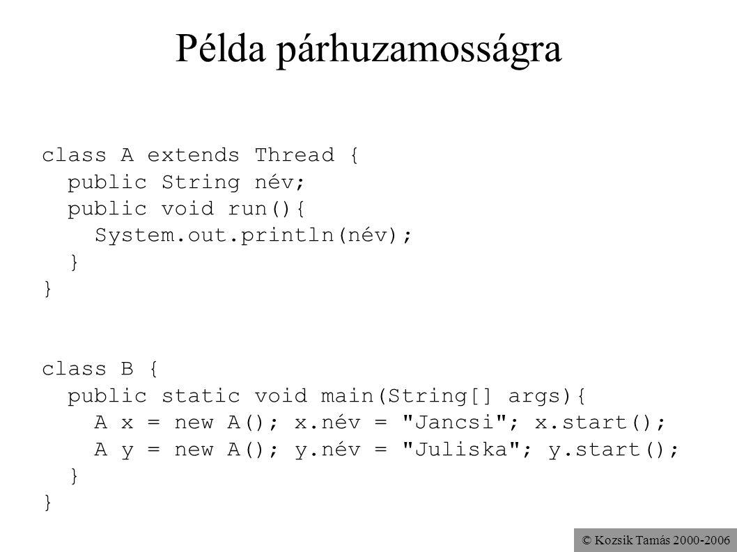 © Kozsik Tamás 2000-2006 Példa párhuzamosságra class A extends Thread { public String név; public void run(){ System.out.println(név); } class B { pub