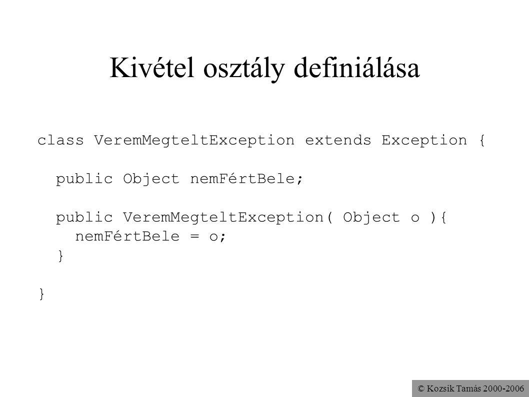 © Kozsik Tamás 2000-2006 Kivétel osztály definiálása class VeremMegteltException extends Exception { public Object nemFértBele; public VeremMegteltExc