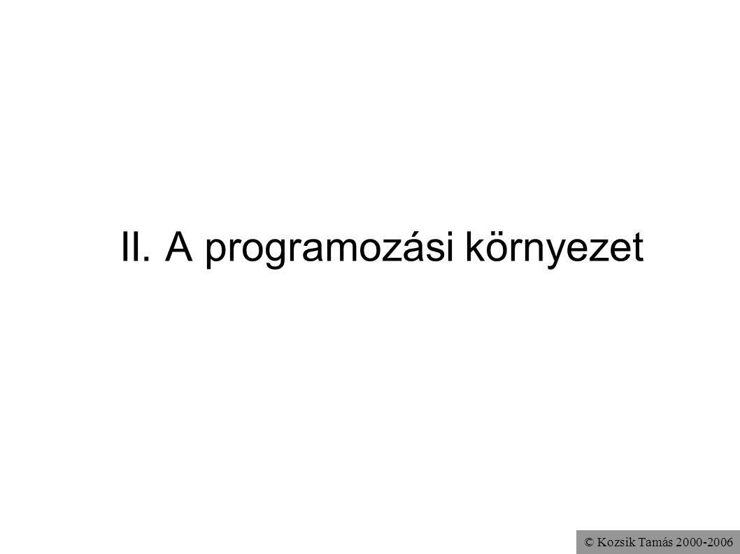 © Kozsik Tamás 2000-2006 II. A programozási környezet