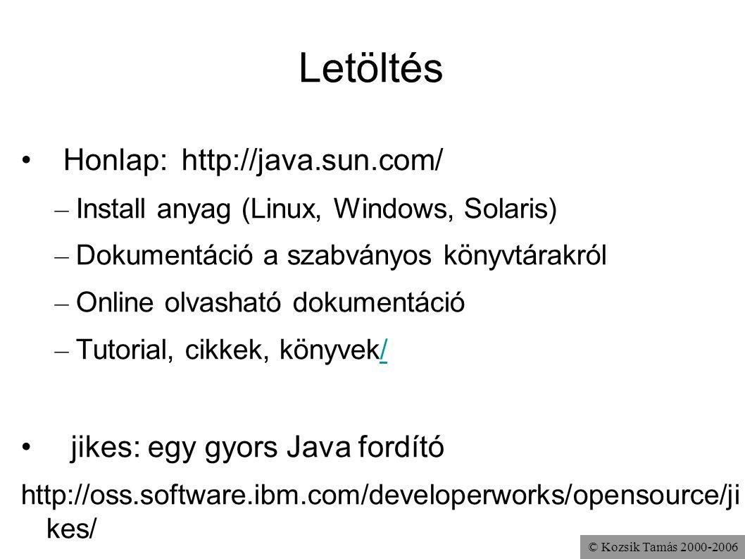 © Kozsik Tamás 2000-2006 Letöltés Honlap:http://java.sun.com/ – Install anyag (Linux, Windows, Solaris) – Dokumentáció a szabványos könyvtárakról – On
