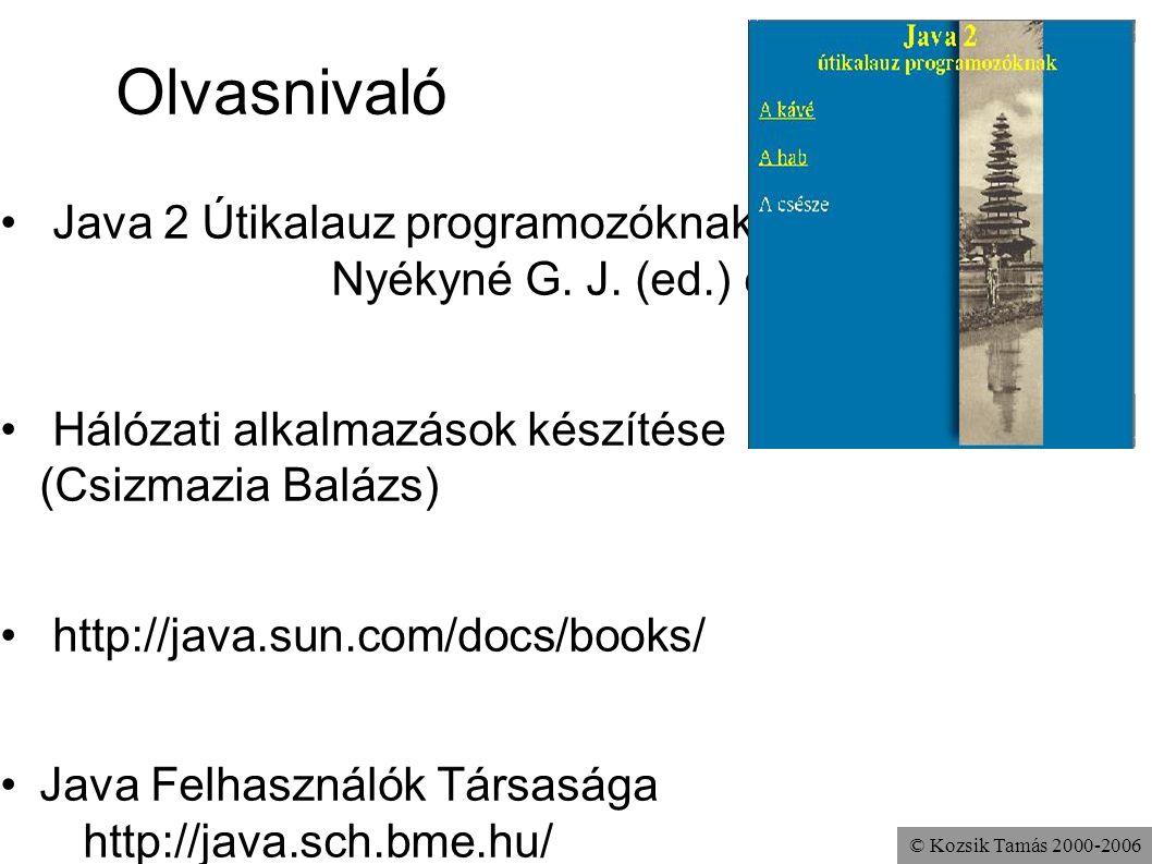 © Kozsik Tamás 2000-2006 Olvasnivaló Java 2 Útikalauz programozóknak Nyékyné G. J. (ed.) et al. Hálózati alkalmazások készítése (Csizmazia Balázs) htt