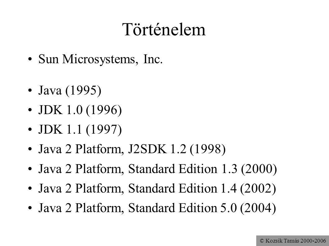 © Kozsik Tamás 2000-2006 Történelem Sun Microsystems, Inc. Java (1995) JDK 1.0 (1996) JDK 1.1 (1997) Java 2 Platform, J2SDK 1.2 (1998) Java 2 Platform