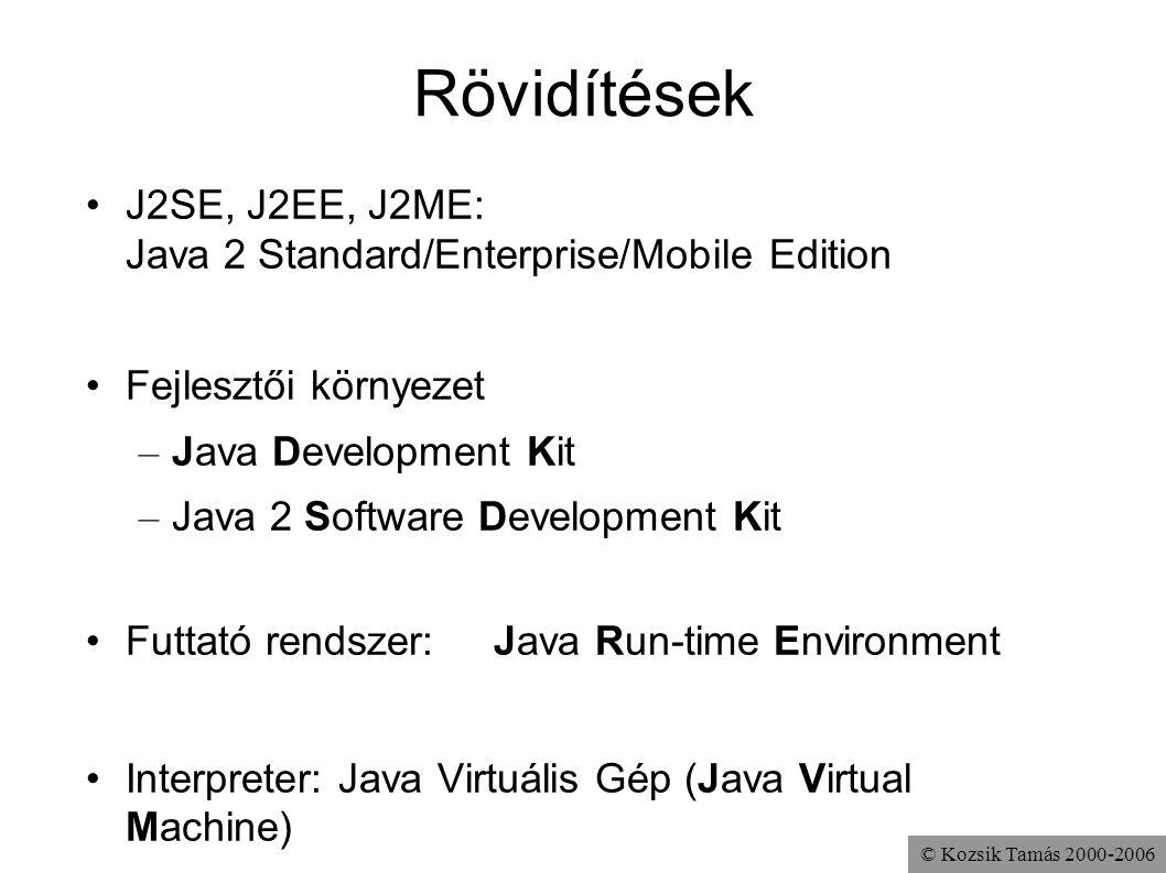 © Kozsik Tamás 2000-2006 Rövidítések J2SE, J2EE, J2ME: Java 2 Standard/Enterprise/Mobile Edition Fejlesztői környezet – Java Development Kit – Java 2