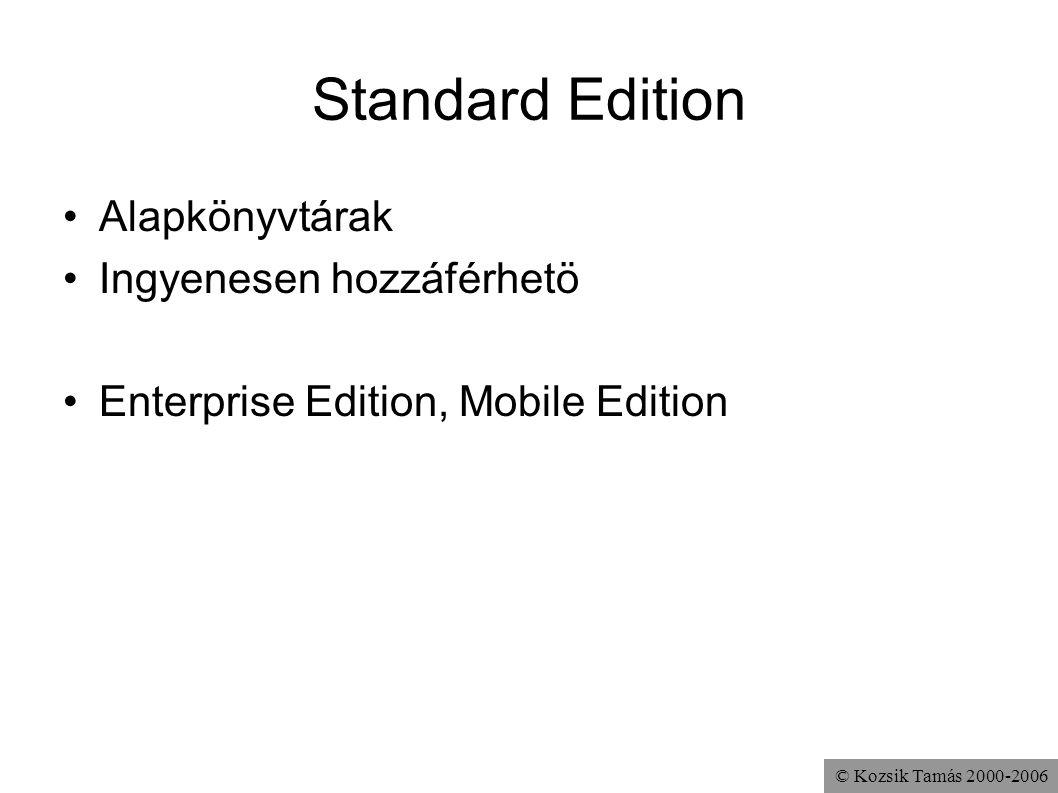© Kozsik Tamás 2000-2006 Standard Edition Alapkönyvtárak Ingyenesen hozzáférhetö Enterprise Edition, Mobile Edition