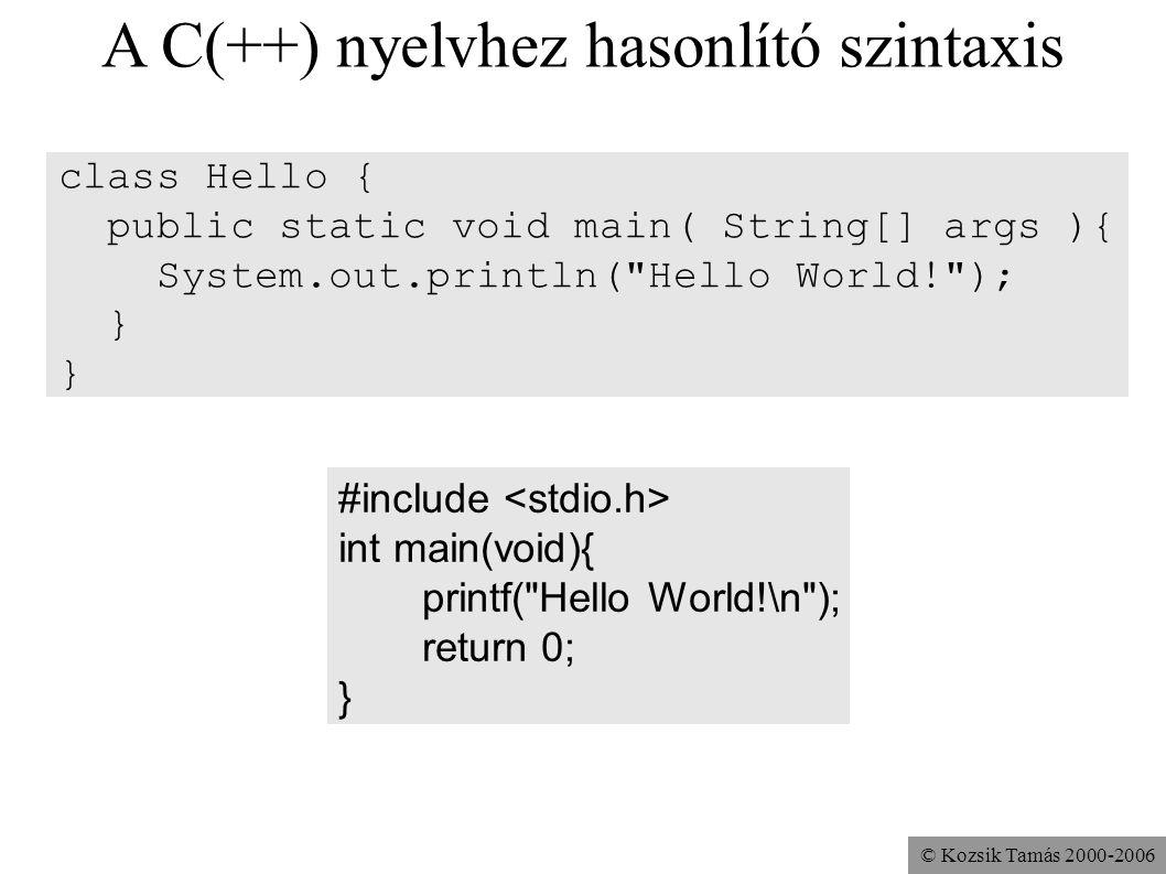 © Kozsik Tamás 2000-2006 A C(++) nyelvhez hasonlító szintaxis class Hello { public static void main( String[] args ){ System.out.println(