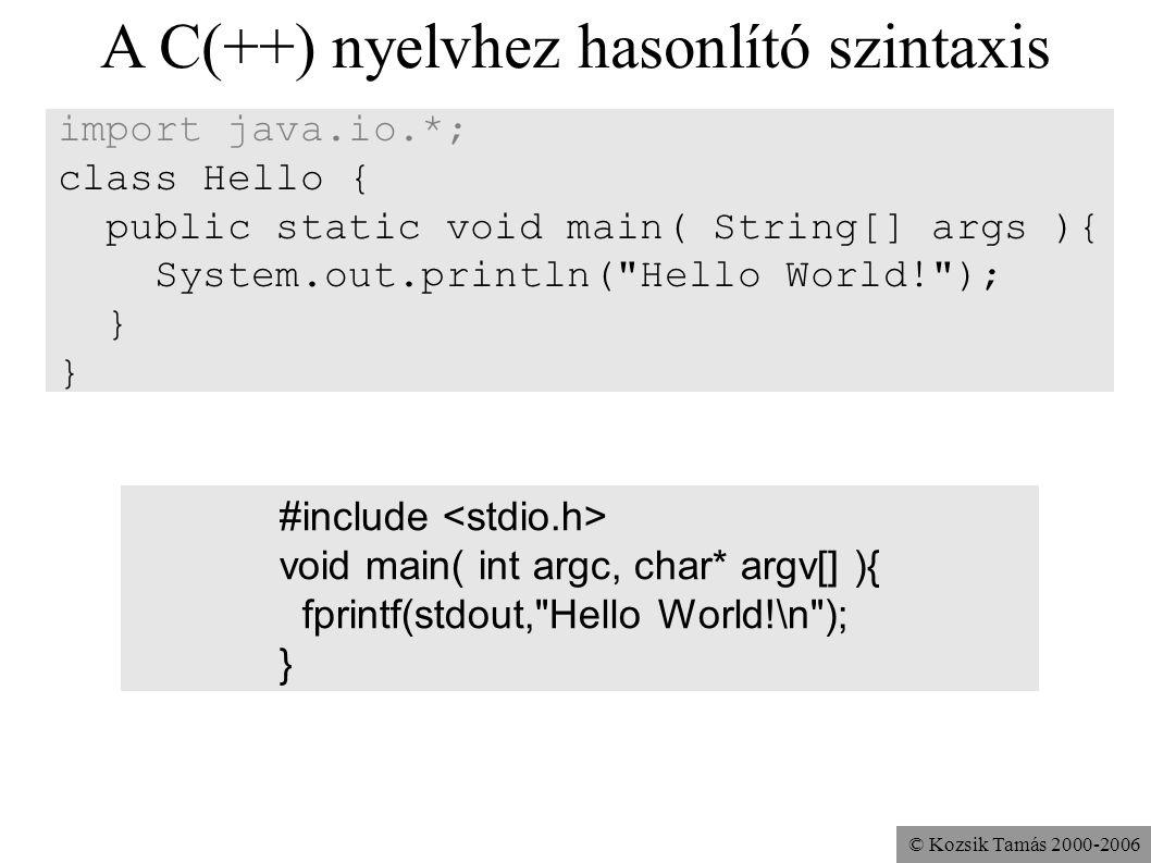© Kozsik Tamás 2000-2006 A C(++) nyelvhez hasonlító szintaxis import java.io.*; class Hello { public static void main( String[] args ){ System.out.pri