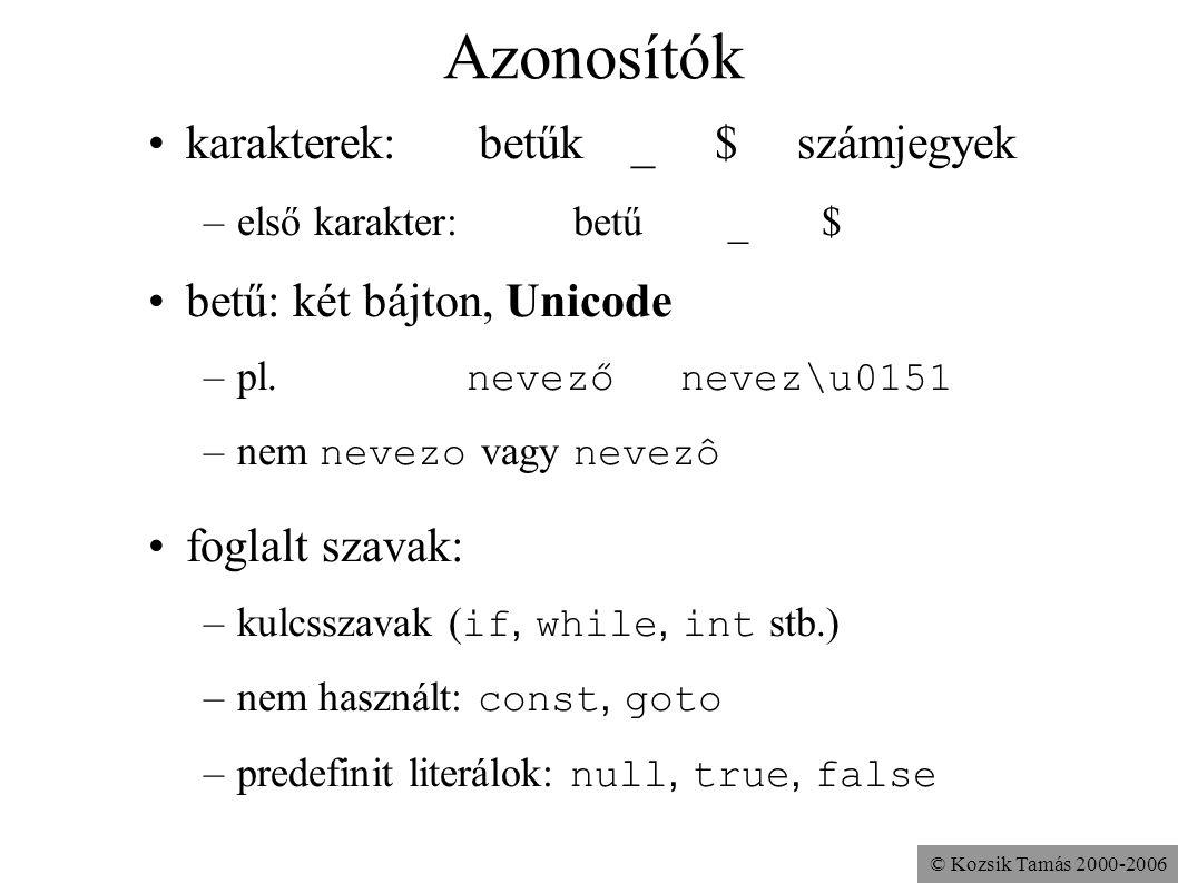 © Kozsik Tamás 2000-2006 Azonosítók karakterek: betűk _ $ számjegyek –első karakter:betű _ $ betű: két bájton, Unicode –pl. nevezőnevez\u0151 –nem nev