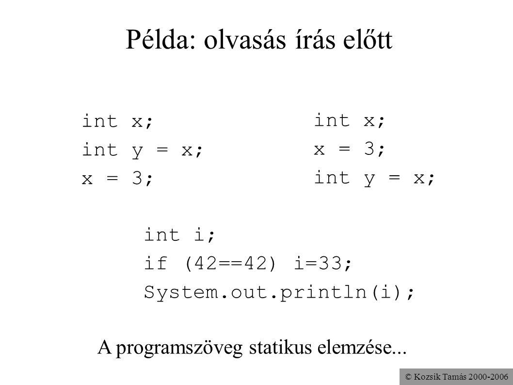 © Kozsik Tamás 2000-2006 Példa: olvasás írás előtt int i; if (42==42) i=33; System.out.println(i); int x; int y = x; x = 3; int x; x = 3; int y = x; A