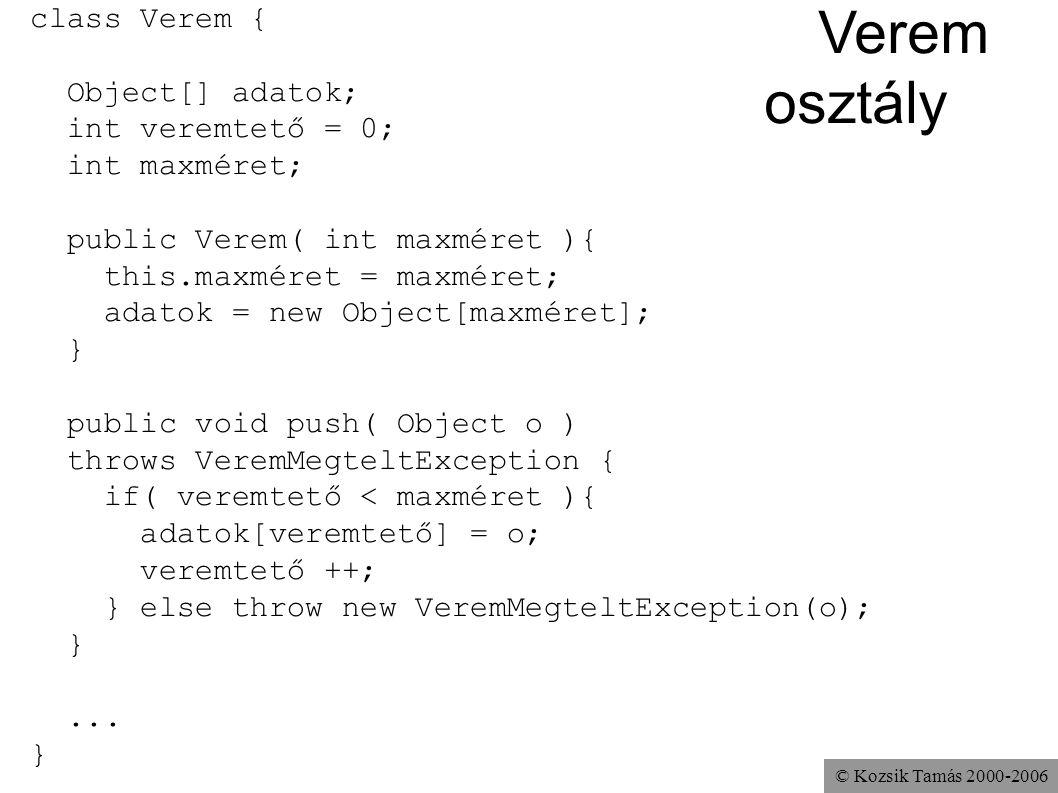 © Kozsik Tamás 2000-2006 Verem osztály class Verem { Object[] adatok; int veremtető = 0; int maxméret; public Verem( int maxméret ){ this.maxméret = m