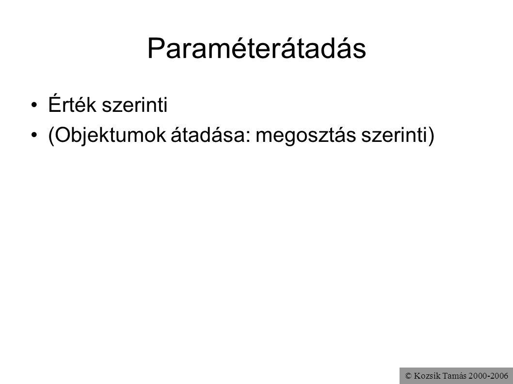 © Kozsik Tamás 2000-2006 Paraméterátadás Érték szerinti (Objektumok átadása: megosztás szerinti)