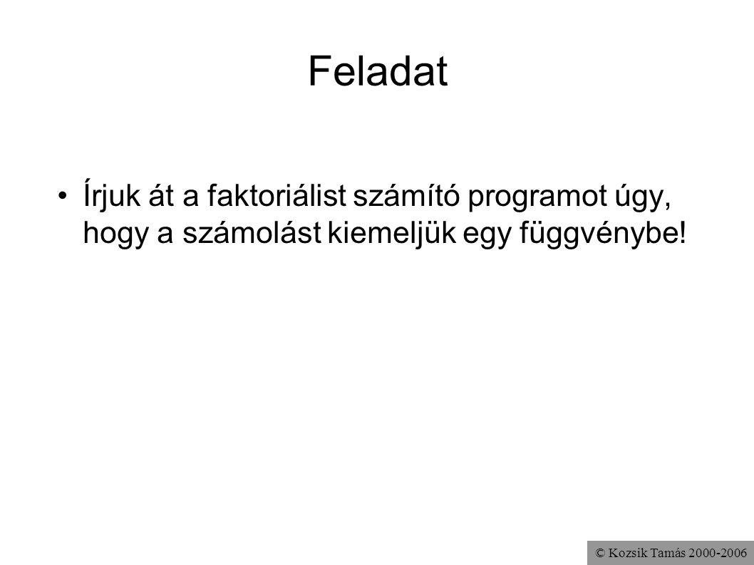 © Kozsik Tamás 2000-2006 Feladat Írjuk át a faktoriálist számító programot úgy, hogy a számolást kiemeljük egy függvénybe!