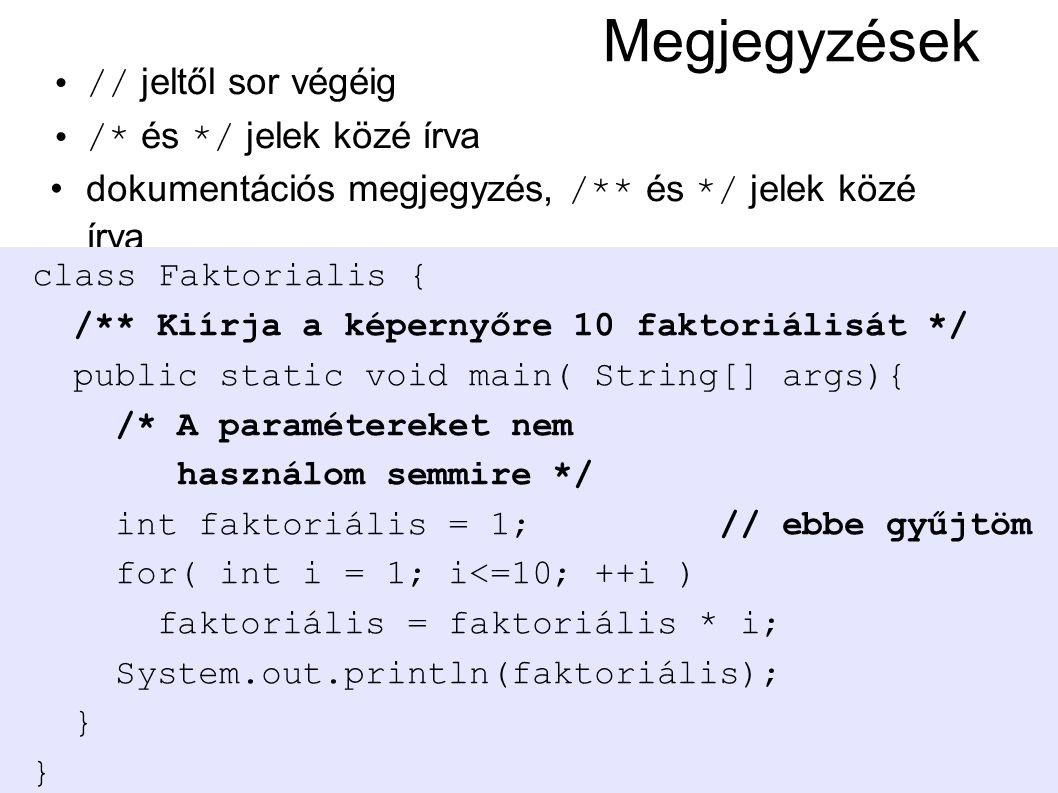© Kozsik Tamás 2000-2006 Megjegyzések // jeltől sor végéig /* és */ jelek közé írva dokumentációs megjegyzés, /** és */ jelek közé írva class Faktoria
