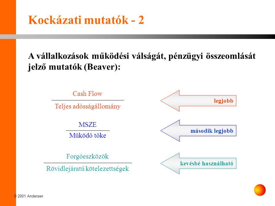 © 2001 Andersen Kockázati mutatók - 2 A vállalkozások működési válságát, pénzügyi összeomlását jelző mutatók (Beaver): MSZE Működő tőke Forgóeszközök