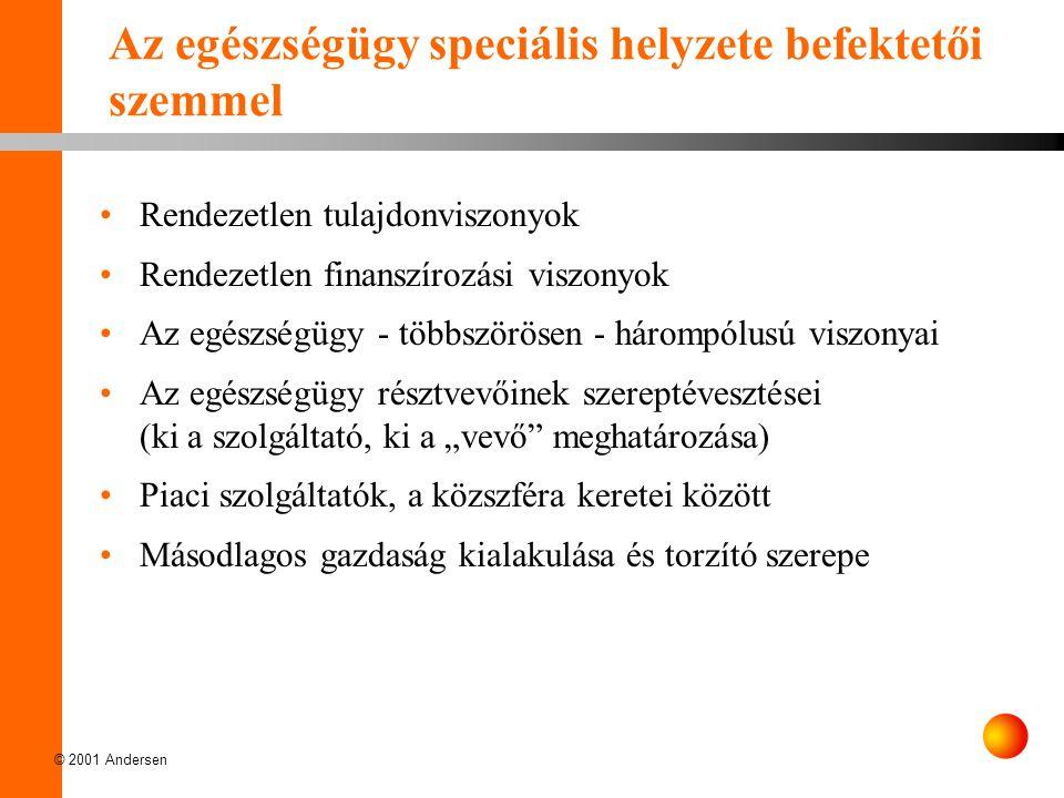 © 2001 Andersen Az egészségügy speciális helyzete befektetői szemmel Rendezetlen tulajdonviszonyok Rendezetlen finanszírozási viszonyok Az egészségügy