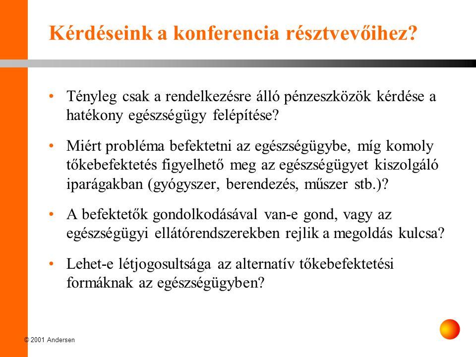 © 2001 Andersen Kérdéseink a konferencia résztvevőihez? Tényleg csak a rendelkezésre álló pénzeszközök kérdése a hatékony egészségügy felépítése? Miér