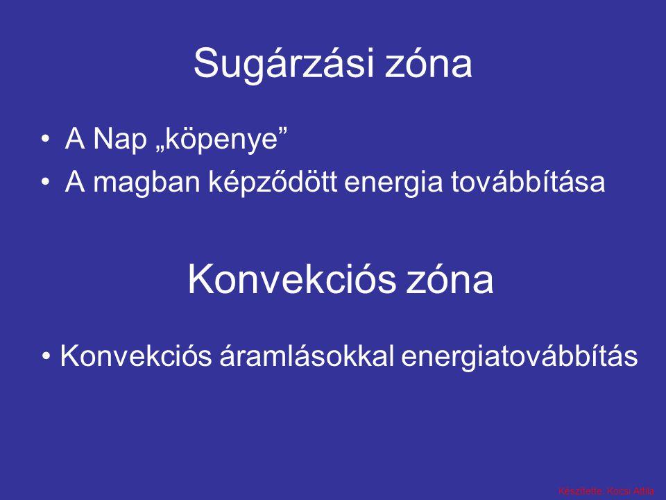 """Készítette: Kocsi Attila Sugárzási zóna A Nap """"köpenye"""" A magban képződött energia továbbítása Konvekciós zóna Konvekciós áramlásokkal energiatovábbít"""