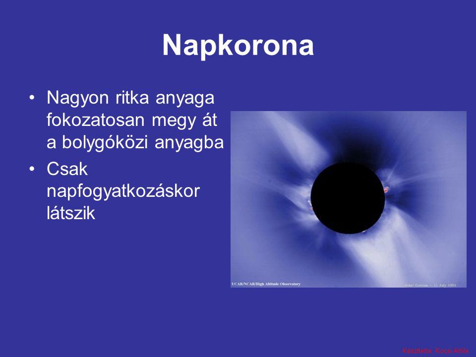 Készítette: Kocsi Attila Napkorona Nagyon ritka anyaga fokozatosan megy át a bolygóközi anyagba Csak napfogyatkozáskor látszik
