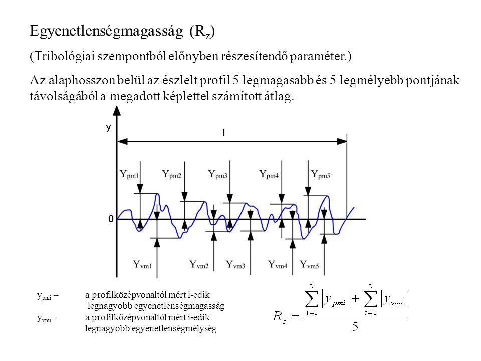 Egyenetlenségmagasság (R z ) (Tribológiai szempontból előnyben részesítendő paraméter.) Az alaphosszon belül az észlelt profil 5 legmagasabb és 5 legm