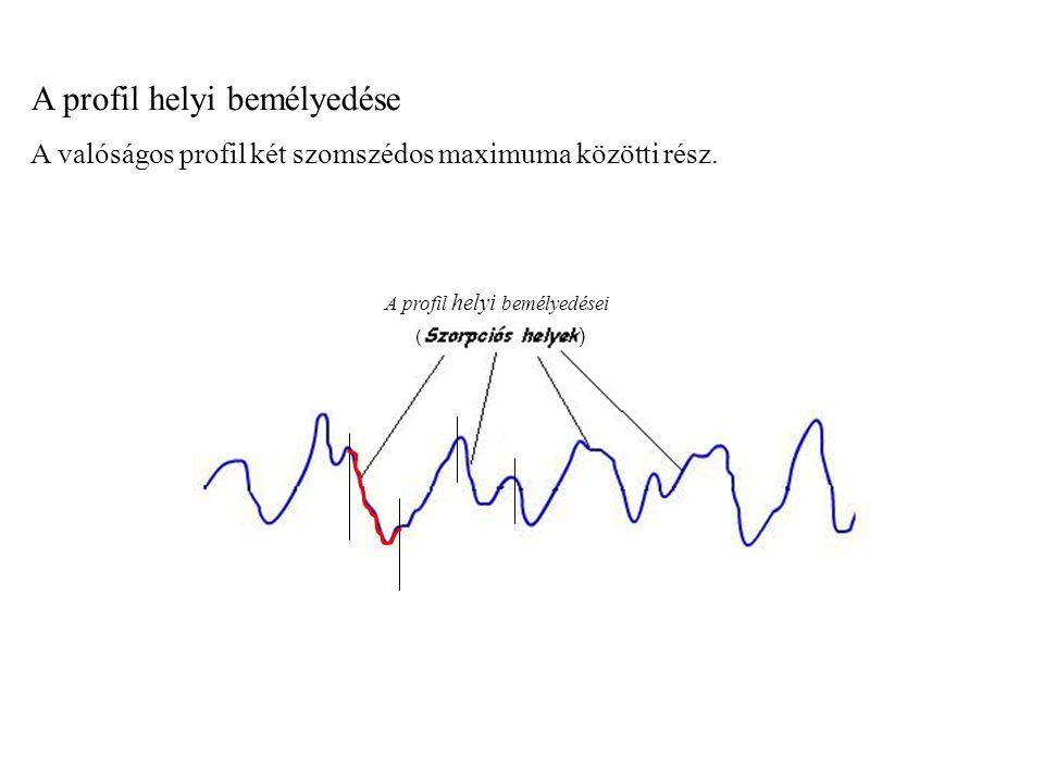 Profil kiemelkedés A valóságos profil olyan kifelé irányuló része, amelyet a profil és a középvonal két- két szomszédos metszéspontja határol.