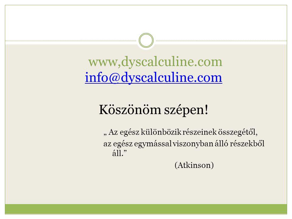 """www,dyscalculine.com info@dyscalculine.com Köszönöm szépen! info@dyscalculine.com """" Az egész különbözik részeinek összegétől, az egész egymással viszo"""
