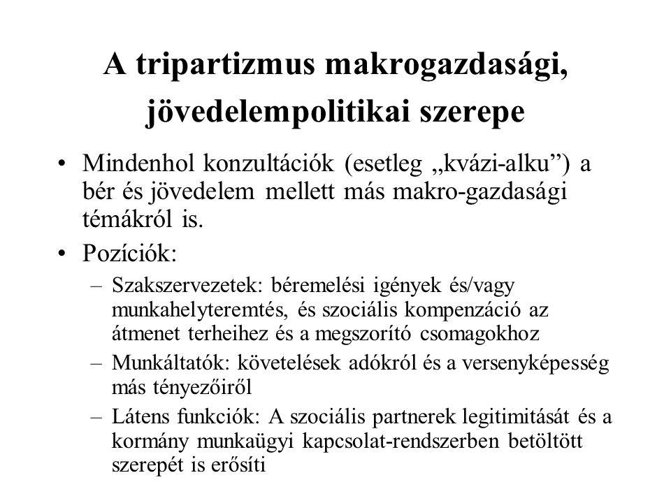 """A tripartizmus makrogazdasági, jövedelempolitikai szerepe Mindenhol konzultációk (esetleg """"kvázi-alku ) a bér és jövedelem mellett más makro-gazdasági témákról is."""
