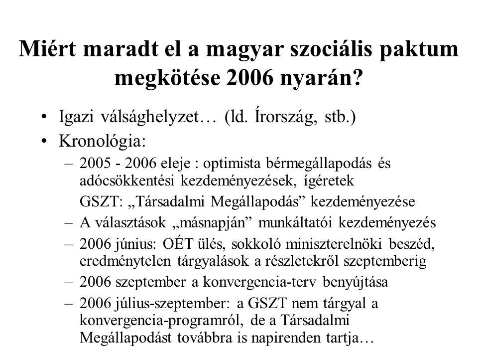 Miért maradt el a magyar szociális paktum megkötése 2006 nyarán.