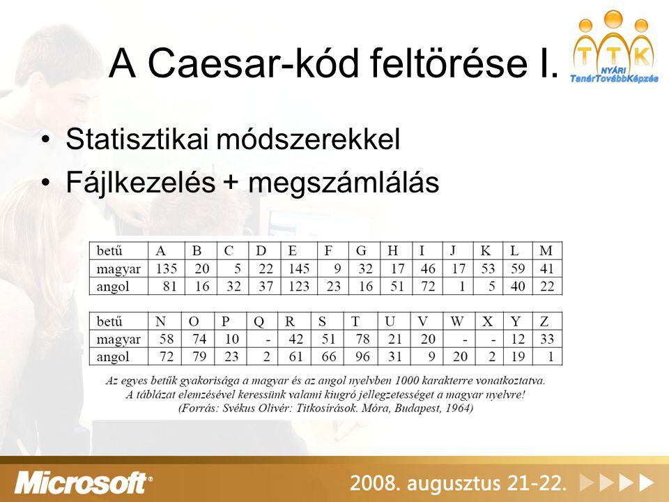 A Caesar-kód feltörése I. Statisztikai módszerekkel Fájlkezelés + megszámlálás