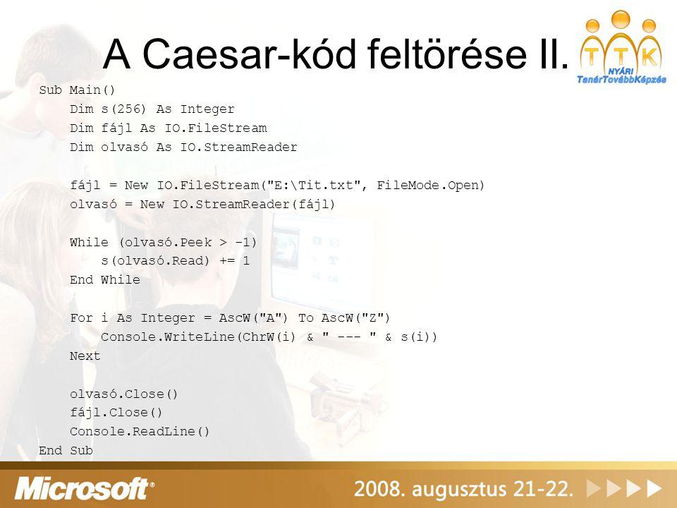 A Caesar-kód feltörése II.