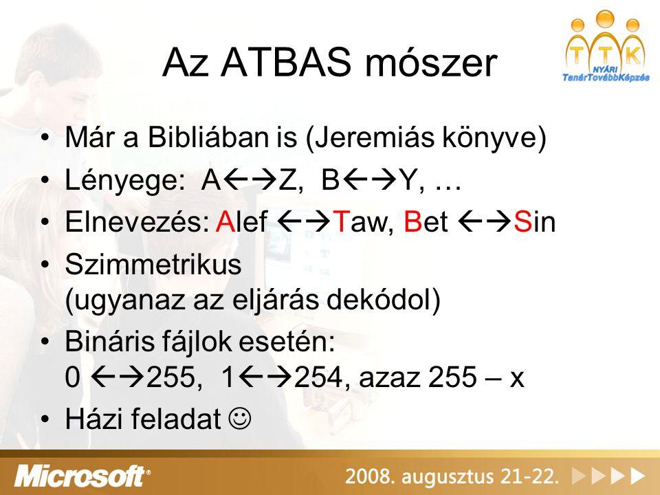 Az ATBAS mószer Már a Bibliában is (Jeremiás könyve) Lényege: A  Z, B  Y, … Elnevezés: Alef  Taw, Bet  Sin Szimmetrikus (ugyanaz az eljárás dekódol) Bináris fájlok esetén: 0  255, 1  254, azaz 255 – x Házi feladat