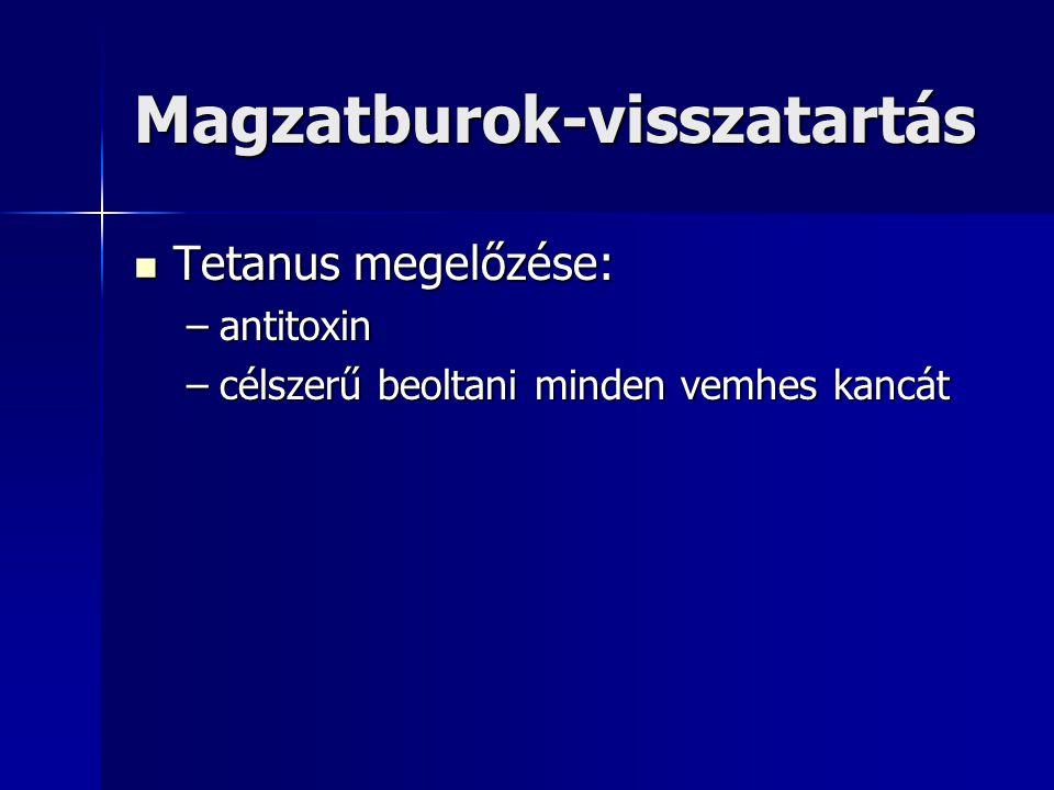 Magzatburok-visszatartás Tetanus megelőzése: Tetanus megelőzése: –antitoxin –célszerű beoltani minden vemhes kancát