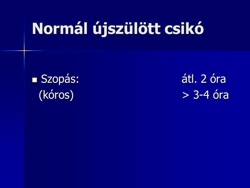 Normál újszülött csikó Szopás:átl. 2 óra Szopás:átl. 2 óra (kóros)> 3-4 óra (kóros)> 3-4 óra