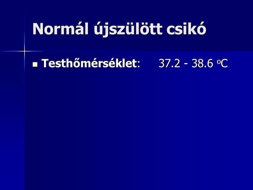 Normál újszülött csikó Testhőmérséklet:37.2 - 38.6 o C Testhőmérséklet:37.2 - 38.6 o C
