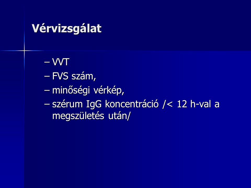 Vérvizsgálat –VVT –FVS szám, –minőségi vérkép, –szérum IgG koncentráció /< 12 h-val a megszületés után/