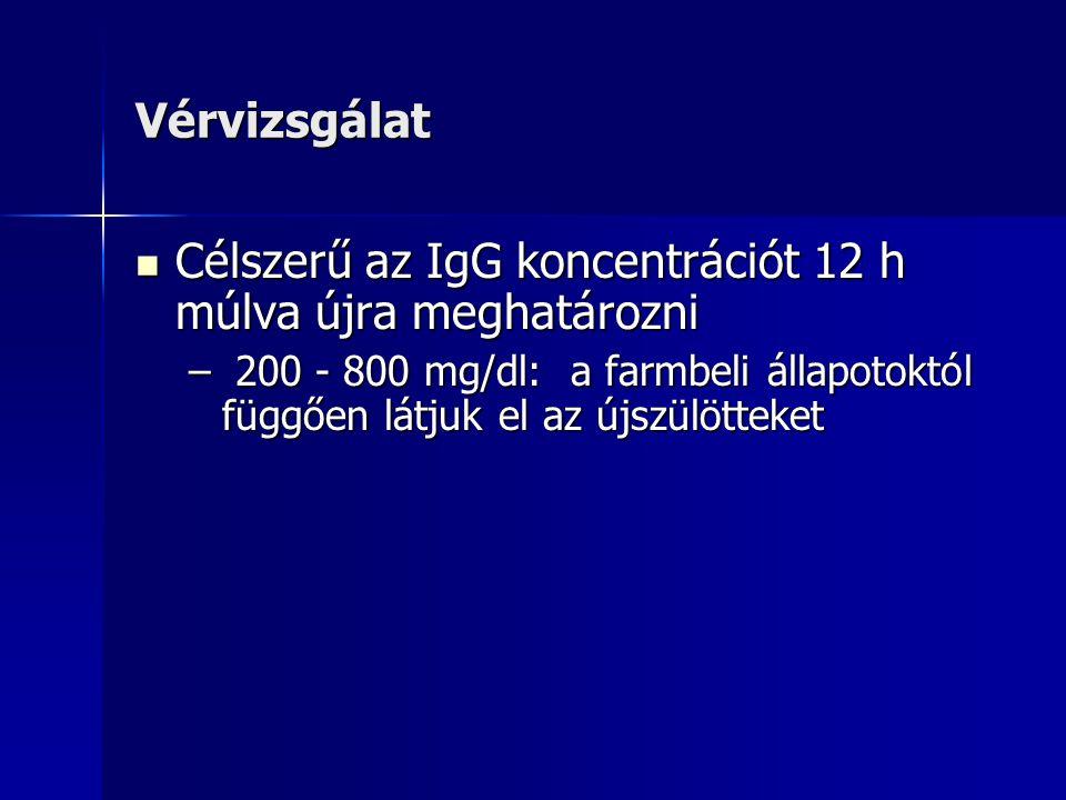 Vérvizsgálat Célszerű az IgG koncentrációt 12 h múlva újra meghatározni Célszerű az IgG koncentrációt 12 h múlva újra meghatározni – 200 - 800 mg/dl: a farmbeli állapotoktól függően látjuk el az újszülötteket