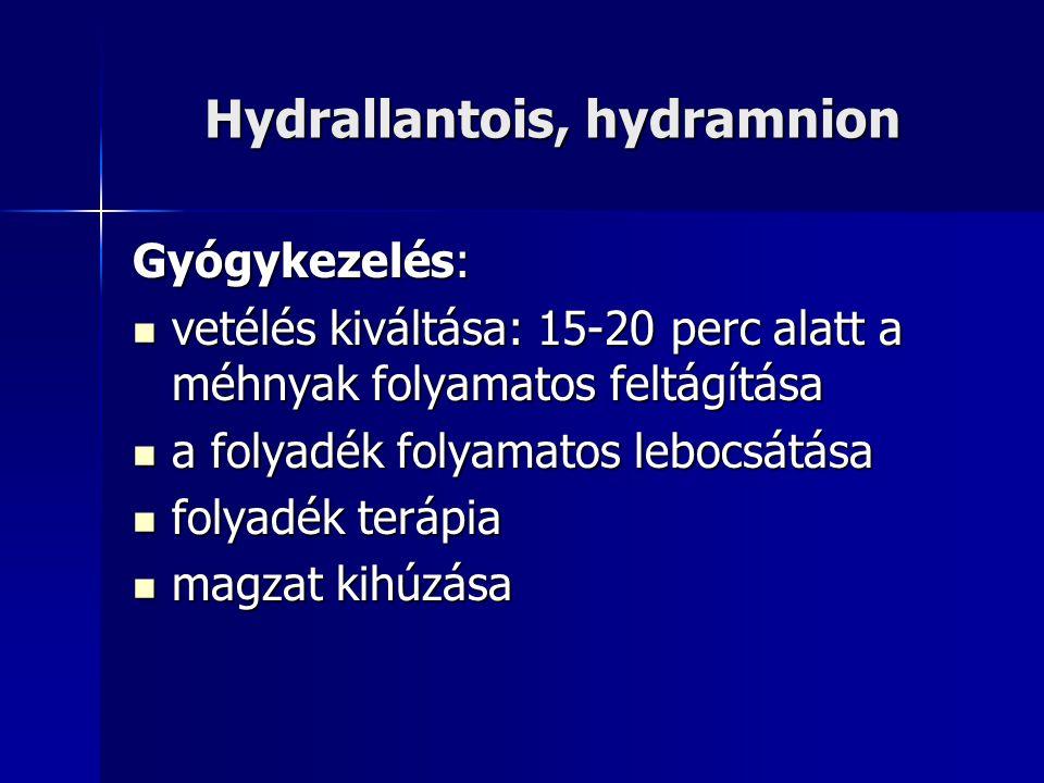 Hydrallantois, hydramnion Gyógykezelés: vetélés kiváltása: 15-20 perc alatt a méhnyak folyamatos feltágítása vetélés kiváltása: 15-20 perc alatt a méhnyak folyamatos feltágítása a folyadék folyamatos lebocsátása a folyadék folyamatos lebocsátása folyadék terápia folyadék terápia magzat kihúzása magzat kihúzása
