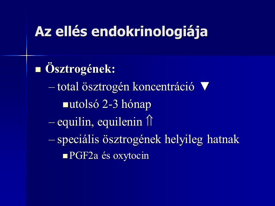 Az ellés endokrinologiája Ösztrogének: Ösztrogének: –total ösztrogén koncentráció ▼ utolsó 2-3 hónap utolsó 2-3 hónap –equilin, equilenin  –speciális ösztrogének helyileg hatnak PGF2a és oxytocin PGF2a és oxytocin