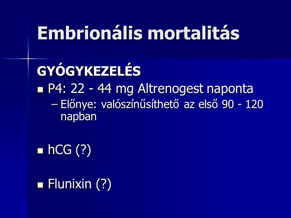 Embrionális mortalitás GYÓGYKEZELÉS P4: 22 - 44 mg Altrenogest naponta P4: 22 - 44 mg Altrenogest naponta –Előnye: valószínűsíthető az első 90 - 120 n