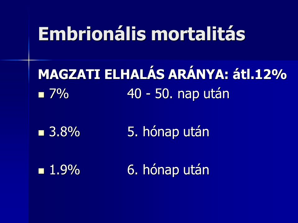 Embrionális mortalitás MAGZATI ELHALÁS ARÁNYA: átl.12% 7% 40 - 50. nap után 7% 40 - 50. nap után 3.8% 5. hónap után 3.8% 5. hónap után 1.9% 6. hónap u