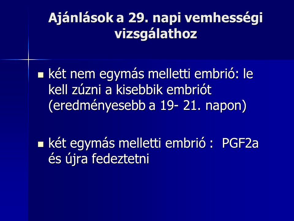 Ajánlások a 29. napi vemhességi vizsgálathoz két nem egymás melletti embrió: le kell zúzni a kisebbik embriót (eredményesebb a 19- 21. napon) két nem