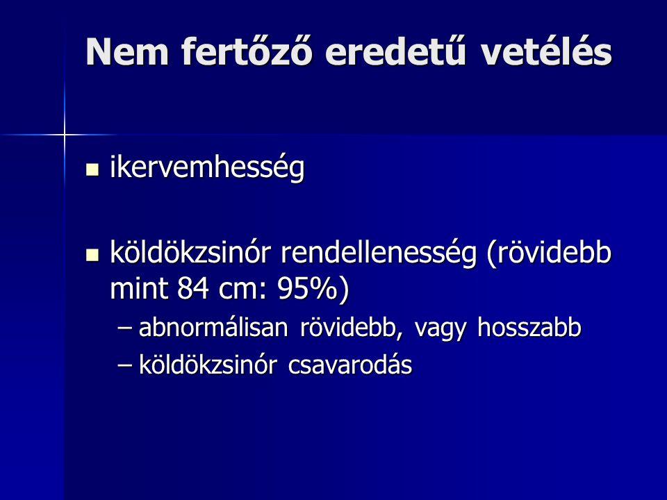 Nem fertőző eredetű vetélés ikervemhesség ikervemhesség köldökzsinór rendellenesség (rövidebb mint 84 cm: 95%) köldökzsinór rendellenesség (rövidebb m